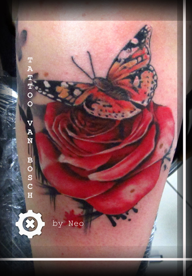 16 tattoo butterfly and rose 101 lower back tattoo for Tattoo removal grand rapids mi